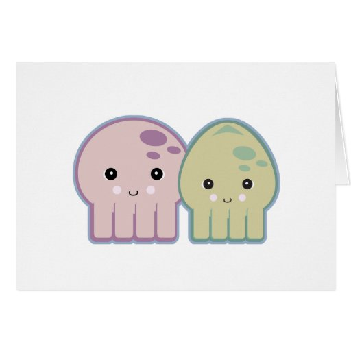 octopus and squid pals greeting card