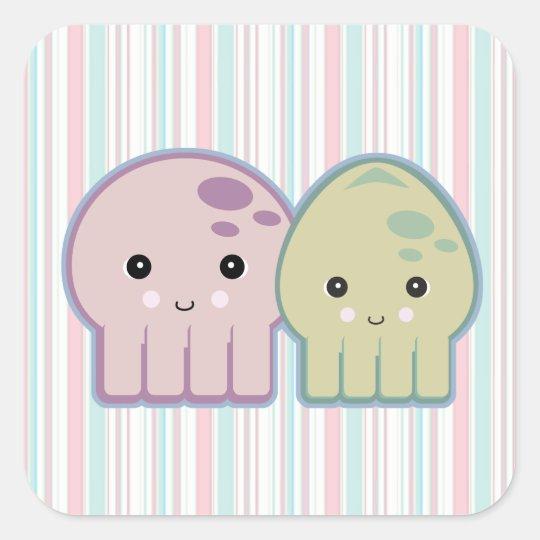 octopus and squid pals square sticker