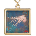 Octopus and the little red fish necklace
