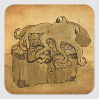 Octopus and Treasure Chest Sticker