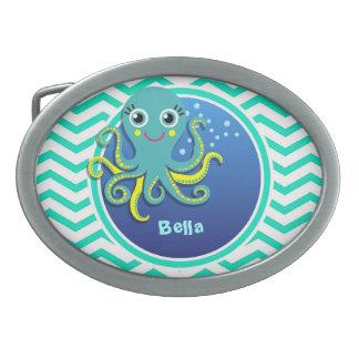 Octopus; Aqua Green Chevron Oval Belt Buckles