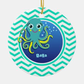 Octopus; Aqua Green Chevron Ceramic Ornament