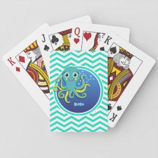 Octopus; Aqua Green Chevron Card Decks
