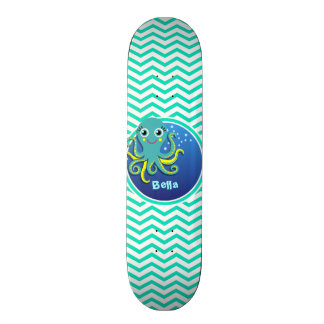 Octopus; Aqua Green Chevron Skateboard Deck