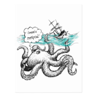 Octopus attack postcard