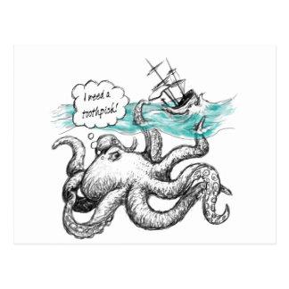 Octopus attack postcard