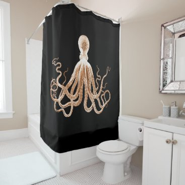 Beach Themed Octopus beach coastal ocean nautical black shower curtain