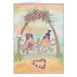 Octopus Beach Wedding Card