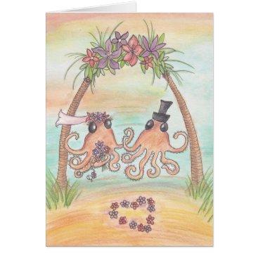 Beach Themed Octopus Beach Wedding Card