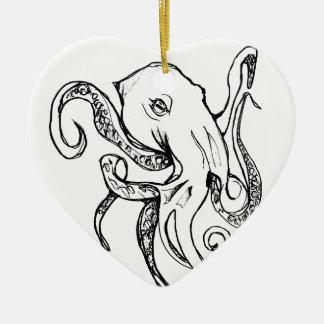 Octopus BLACK Ceramic Ornament