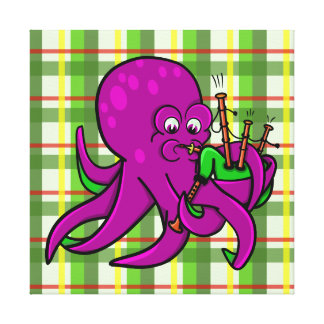 Octopus Blowing Making Music On Bagpipes Canvas Print