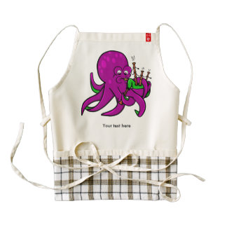 Octopus Blowing Making Music On Bagpipes Zazzle HEART Apron