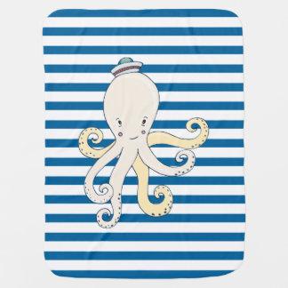 Octopus Blue and White Horizontal Stripe Receiving Blanket