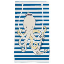 Octopus Blue and White Horizontal Stripe Small Gift Bag