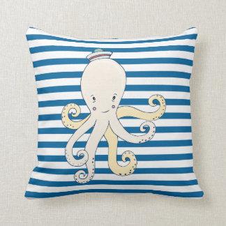 Octopus Blue and White Horizontal Stripe Throw Pillow