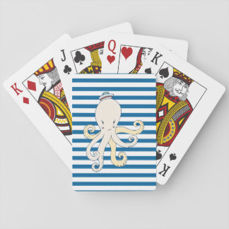 Octopus Blue and White Stripe Cards Card Deck
