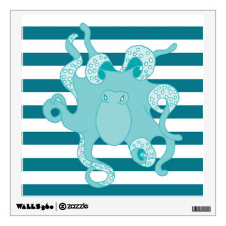 Octopus Blue Bold Stripes 12x12 Square Wall Decal