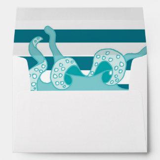 Octopus Blue Bold Stripes Envelope
