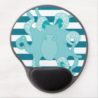 Octopus Blue Bold Stripes Gel Mousepad