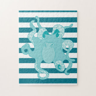 Octopus Blue Bold Stripes Puzzle
