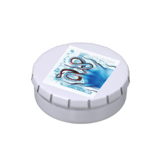 Octopus Blue Map Jelly Belly Candy Tin