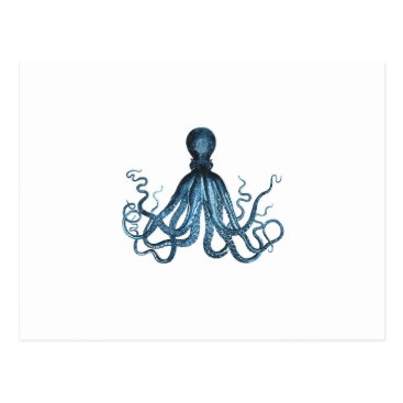 Beach Themed Octopus blue nautical coastal pattern postcard