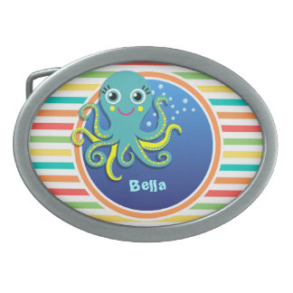 Octopus; Bright Rainbow Stripes Oval Belt Buckle