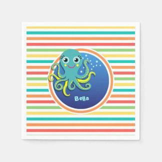Octopus; Bright Rainbow Stripes Paper Napkins