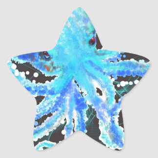 Octopus bubbles star sticker