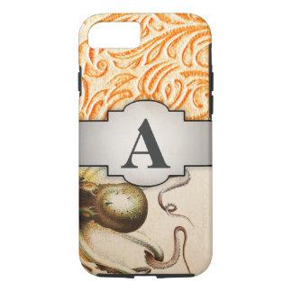 Octopus Celosia Orange Vintage Scrollwork Design iPhone 8/7 Case