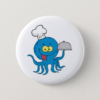 Octopus Chef Serving Food In A Sliver Platter Pinback Button