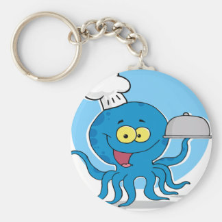 Octopus Chef Serving Food Keychain
