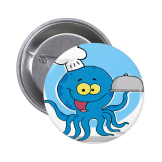 Octopus Chef Serving Food Pinback Button