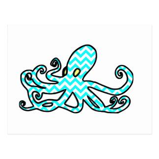 Octopus Chevron - light blue Postcard