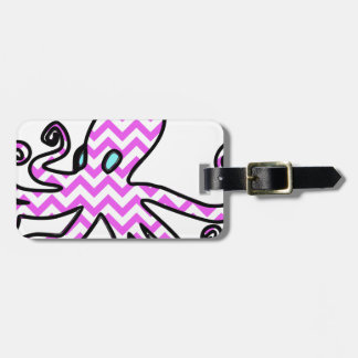 Octopus & chevron - pink luggage tag