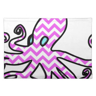Octopus & chevron - pink placemat
