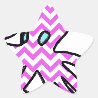 Octopus & chevron - pink star sticker