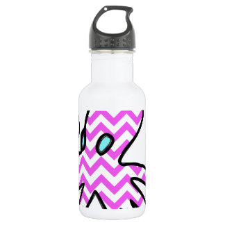 Octopus & chevron - pink water bottle