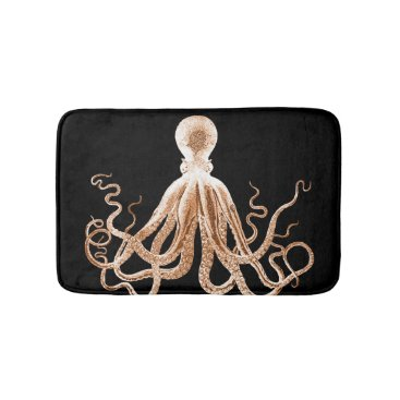 Beach Themed Octopus coastal ocean beach black bath mats