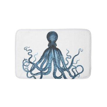 Beach Themed Octopus coastal ocean beach blue white bath mats