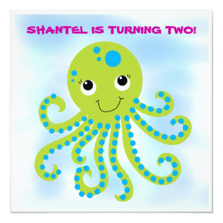 "Octopus Customized  Birthday Invitations 5.25"" Square Invitation Card"