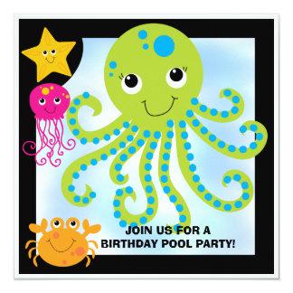 Octopus Customized  Birthday Invitations