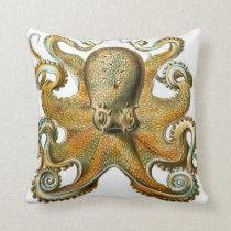Octopus design by Ernst Haeckel, circa 1904 Throw Pillow