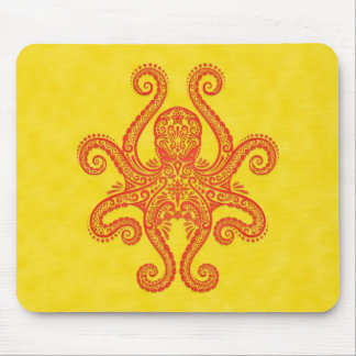 Octopus Design (red & yellow) Mouse Pad