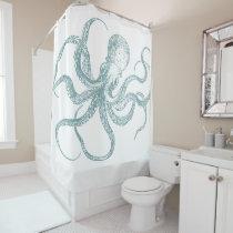 Octopus Design Shower Curtain