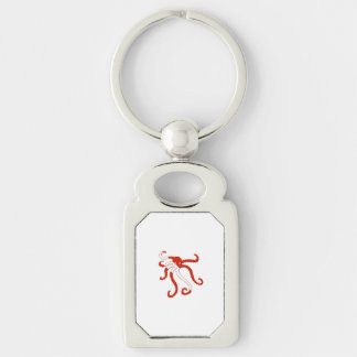 Octopus dive silhouette key chains