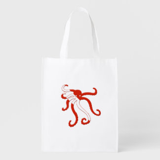 Octopus dive silhouette reusable grocery bags
