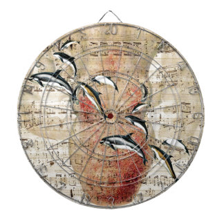 Octopus Dolphins Collage Dartboard With Darts