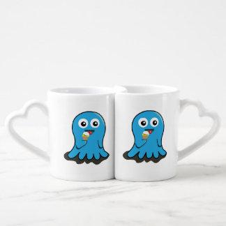 Octopus eating ice cream cartoon coffee mug set