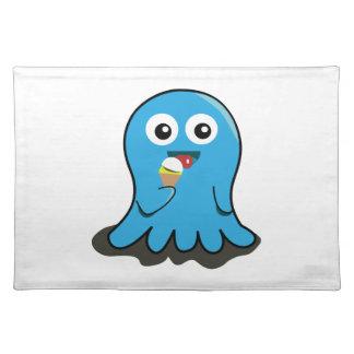 Octopus eating ice cream cartoon placemat